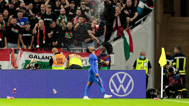 Sterling was pelted with items thrown from the crowd when celebrating the opening goal