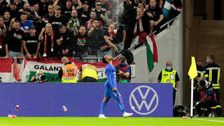 Sterling was reportedly pelted with items thrown from the crowd when celebrating the opening goal