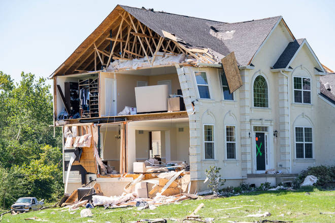 A severely damaged home in Mullica Hill, New Jersey