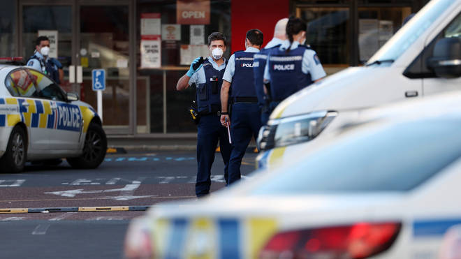 Police at the scene of the stabbing bloodbath at the supermarket in Auckland