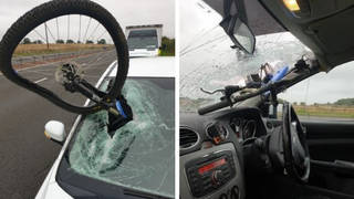 The bike came loose from a vehicle travelling the opposite direction down the motorway