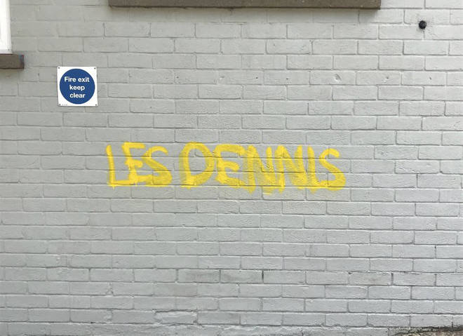 Some of the Les Dennis graffiti in Norwich