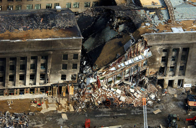 Aerial view of the damage to the Pentagon