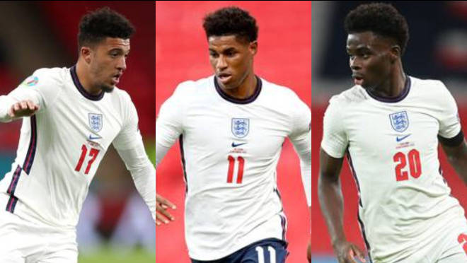 He was given a suspended sentence for his comments about Sancho (L), Rashford (C) and Saka (R)