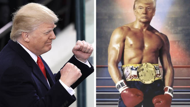 Donald Trump tweeted an image of himself as Rocky previously