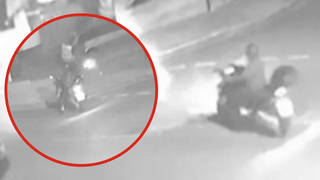 Police have released shocking footage of a moped drive-by shooting.