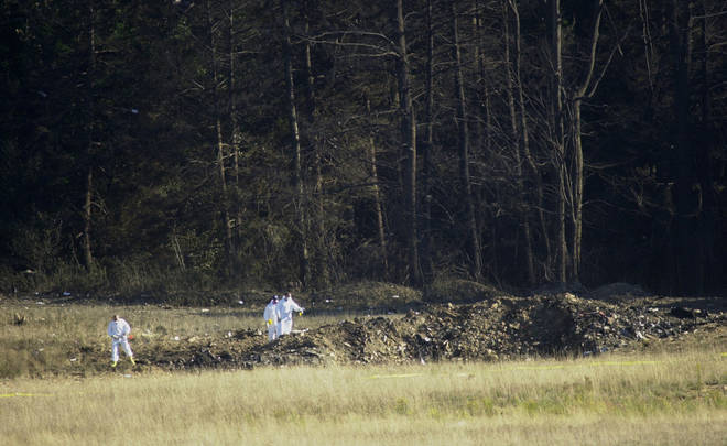 Flight 93 left a crater in the field where it crashed after passengers and crew stormed the cockpit