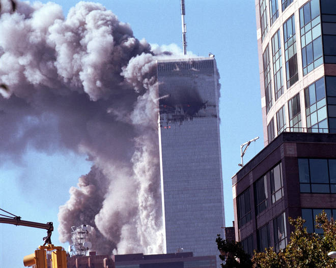 The North Tower moments before it collapsed completely