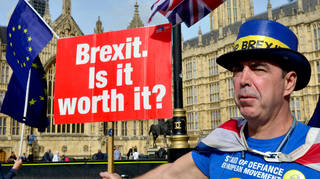 Steve Bray received some choice words as he followed Nigel Adams in Westminster