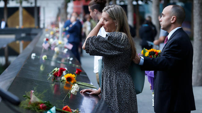 Mourners have gathered at the World Trade Center memorial.