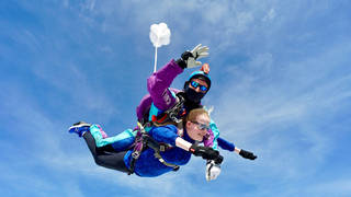 """Bridget Harrison said she was nervous before the jump but she wanted to make the children """"proud"""""""