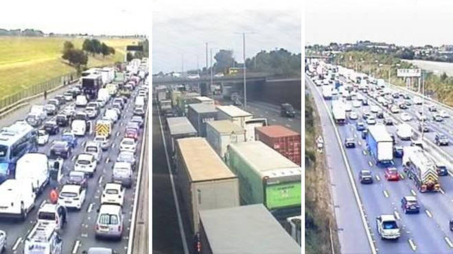 Traffic cameras have shown backed up queues due to the protests.