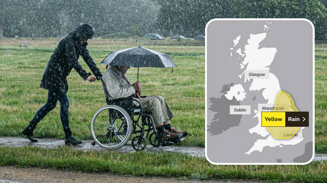 Heavy rain is set to batter most parts of England throughout the day on Tuesday