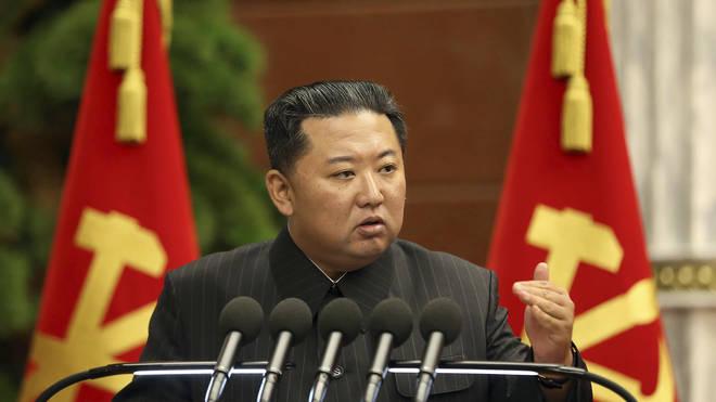 North Korean leader Kim Jong Un delivering a speech
