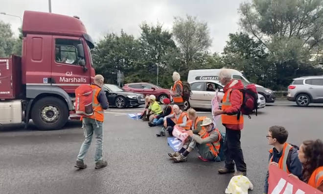 Around 18 protesters blocked traffic near the M25 today