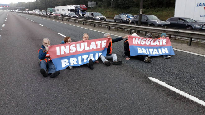 Protesters shared this image of them blocking the main carriageway of the M25