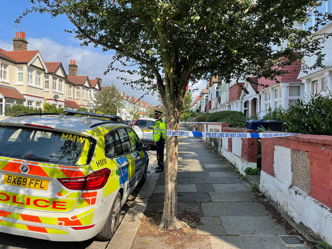 Police cordoned off the house after the 5-year-old child died.