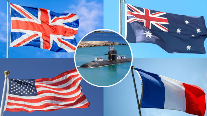 This picture shows the flags of the UK, the US, Australia, and France, with a submarine in the middle.