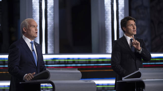 Conservative leader Erin O'Toole, left, and Liberal leader Justin Trudeau (Justin Tang/AP)