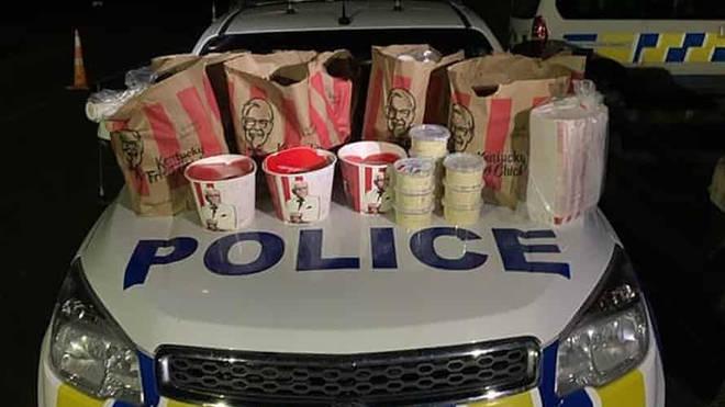 Police photos showed the chicken stash