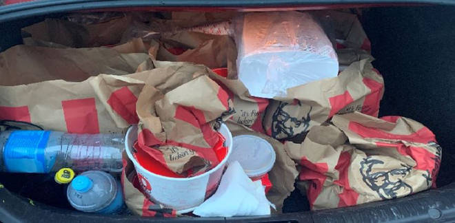 The car's boot was filled with fried chicken