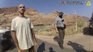 This police camera video provided by The Moab Police Department shows Brian Laundrie talking to a police officer