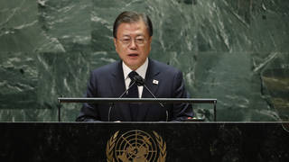 South Korea's President Moon Jae-in addresses the 76th Session of the UN General Assembly