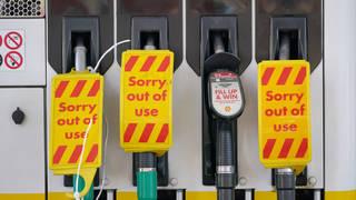 Closed pumps at a Shell garage
