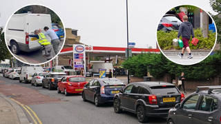 Drivers have been picking up jerry cans of petrol as large queues continue.