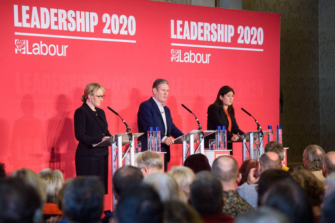 Rebecca Long-Bailey, Keir Starmer and Lisa Nandy speaking during a leadership hustings event for the Labour Party, at the Grand Hotel in Brighton.
