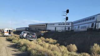 The scene of the derailment in Montana
