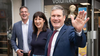 Sir Keir Starmer, shadow chancellor Rachel Reeves and Hove M.P. Peter Kyle