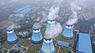 Cooling towers at a coal-fired power station in Nanjing in east China's Jiangsu province