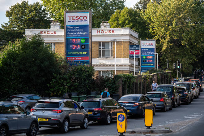 Motorists queue for fuel at a Tesco garage in Lewisham, south-east London