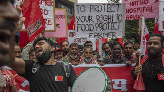 Communist Party of India members protest against farm laws in Mumbai
