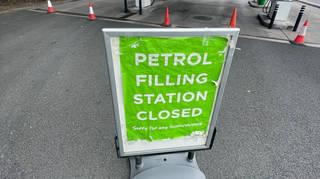 A closed petrol station on Saturday