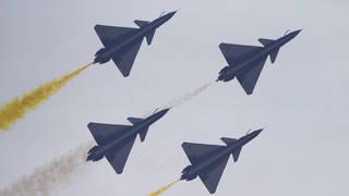 Aerobatics team in flight