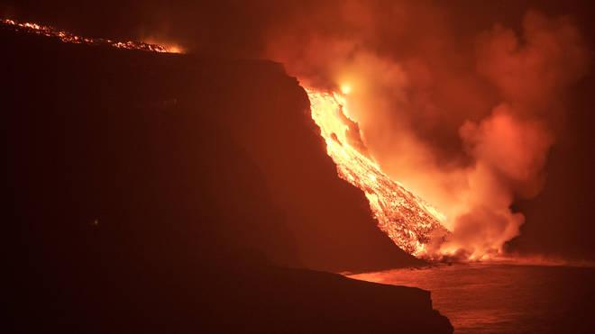 La Palma volcano lava
