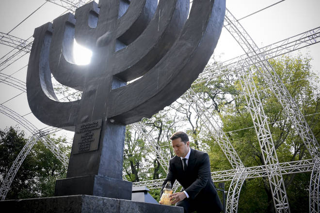 Ukrainian President Volodymyr Zelenskyy attends a ceremony at the monument to Jewish victims of Nazi massacres in Ukraine's capital Kyiv (AP)