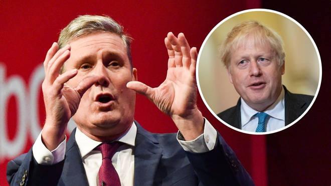 Sir Keir Starmer took aim at Boris Johnson during his speech.