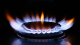 A lit ring on a gas hob