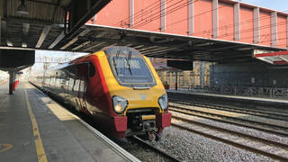 A train at Crewe station
