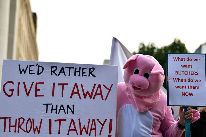 Protesters outside the Tory conference called for a visa scheme to bring more butchers to the UK