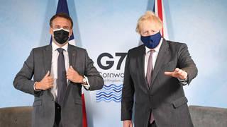Boris Johnson and France's President Emmanuel Macron at the G7 in June