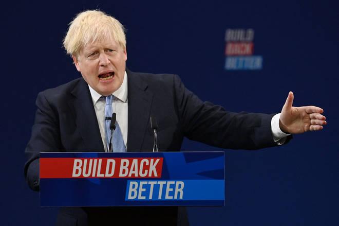 Boris Johnson during his conference speech on Wednesday