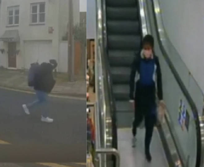 Left, Rouf fleeing the scene after the attack and right, in new clothing