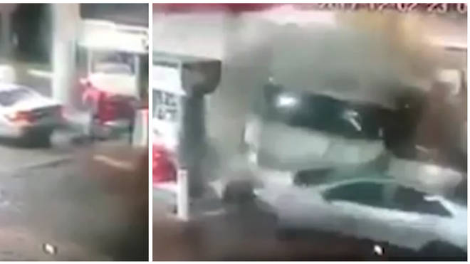 Lorry Smashes into Petrol Station