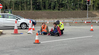 Insulate Britain protesters block J25 of the M25 this morning.