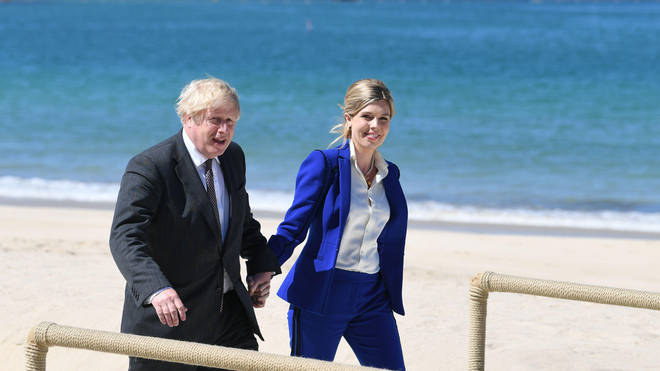 Boris and Carrie pictured together at the G7 summit in Cornwall earlier this year