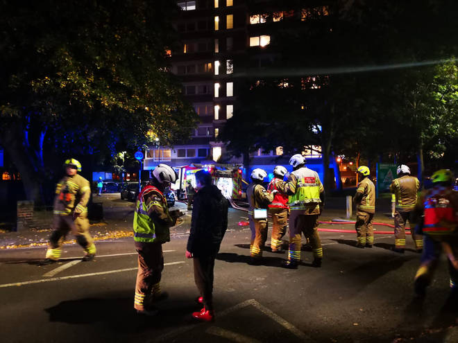 London Fire Brigade said they had taken 18 calls about the blaze